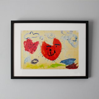 A framed print displaying a child's drawing.